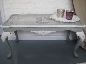 Romantic 'Love in Paris' Paris Grey Painted Coffee Table