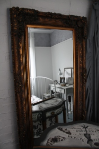 Gold Ornate Louis Style Mirror and Matching Console Table