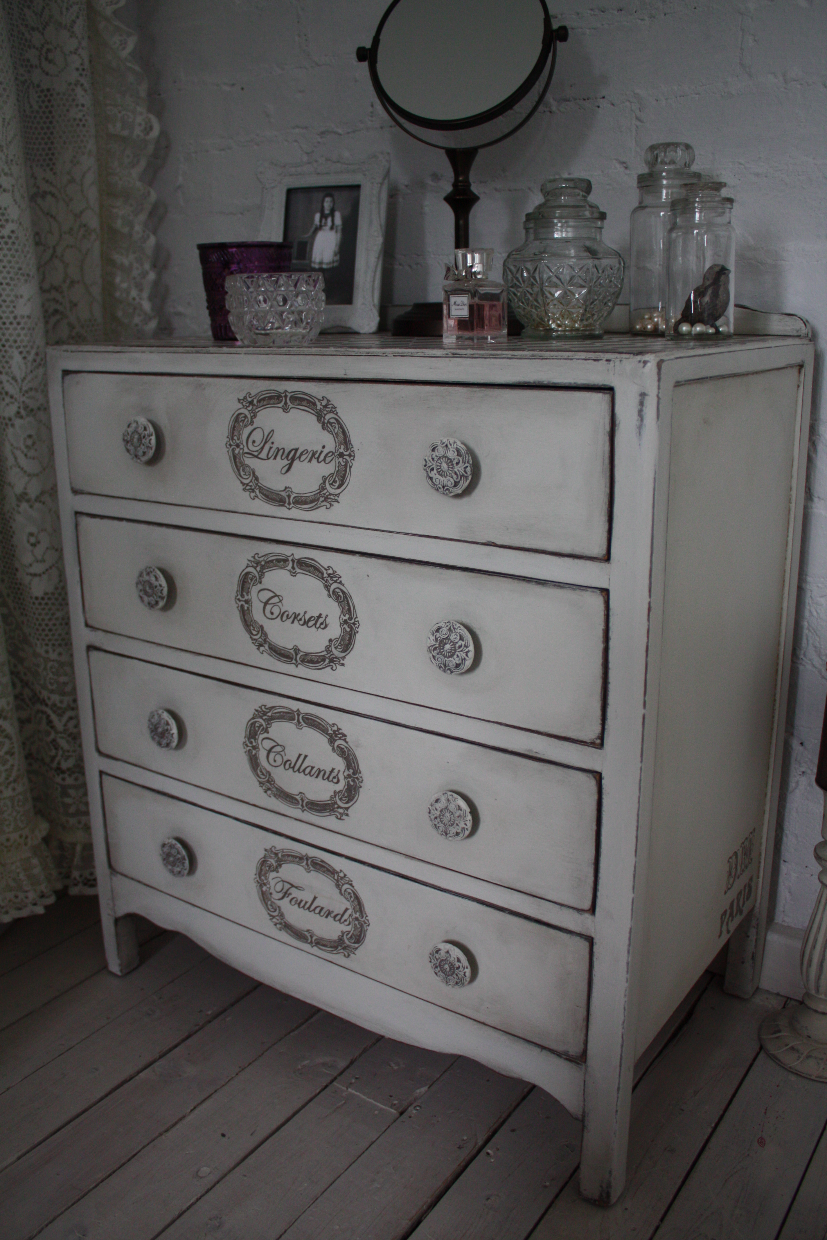 Arlequin commode shabby chiffonier for Commode style shabby chic