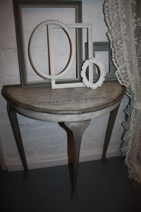 Patisserie-Confiserie Hall Lamp Console Table. Hand Painted with French Linen and Old White, Chalk Paints by annie Sloan, decorated with French Typography Design. Signed.