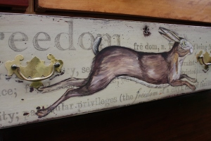 Vintage antique illustration, hand painted hare