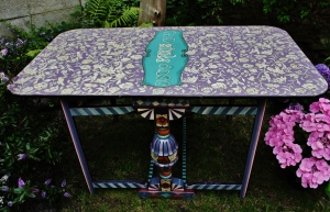 Hand Painted Drop leaf Vintage Antique Table,