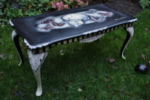 scull and butterflies coffee table, painted and varnished