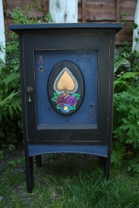 Black and Blue Alice in Wonderland inspired Bedside Cabinet